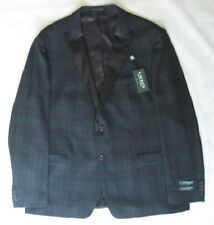 Lauren Ralph Lauren Blazer Size 40S Men Wool Dinner Suit Jacket Navy Green Plaid
