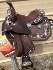 """8"""" brown Starlight miniature horse Western saddle w'crystals, copper conchos"""