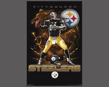 Rare PIttsburgh Steelers ON FIRE Gunslinging Quarterback Team Theme Art POSTER