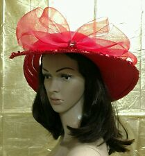 Formal Hat Ladies Red Wide Brim Derby Church Wedding Society Event Bow Tulle EUC