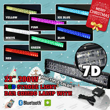 "7D 22"" 280W RGB LED Light Bar Offroad Strobe Bluetooth Music Flashing MultiColor"