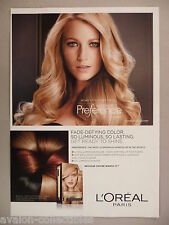 Blake Lively for L'Oreal Preference Shampoo PRINT AD - 2014