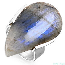 Sterling Silver 925 Ring Big Labradorite Gemstone Cocktail Statement Band Size