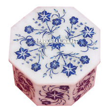 """4""""x4""""x2"""" Marble Jewelry Box Real Lapis Stone Inlay Floral Art Decor Gifts H2736"""
