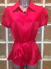 Next Red Silk Blouse 50's Style, New, 10 UK