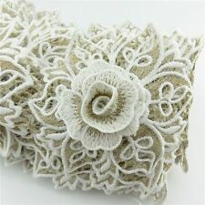 1 Meter 110mm Width Bridal Applique White Lace Embroidery Flower Trims Sewing