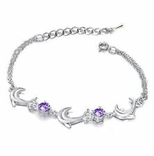 Womens Sterling Silver Bracelet Dolphin Link Purple Amethyst Crystal Gift Box AC
