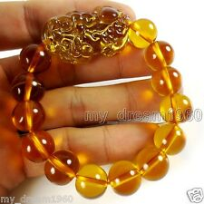Feng Shui Citrine 14mm Yellow Crystal Pi Yao Pi Xiu Xie Bracelet For Wealth