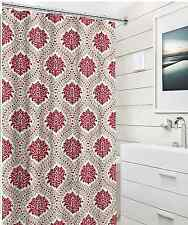 Elegant Damask Embossed Fabric Shower Curtain: Red Taupe White Floral Design