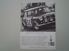 advertising Pubblicità 1965 CHAMPION e BMC MINI COPPER S RALLY
