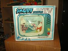 Vintage Smurfs Musicale Color TV Ohio Art 1982 MIB wind up musical toy Smurf