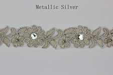 "Embroidered Corded Beaded Edging Motifs Trim 1 "" width M Silver  #10"