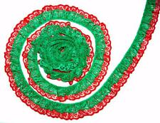 Green on Red DOUBLE Ruffle 2 Inch Candlewick Lace Trim~By 5 Yards