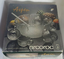 Beautiful Punch Bowl Set with 8 Cups by Arcoroc (Boxed)