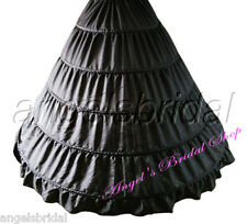 BLACK 5-HOOP BRIDAL WEDDING GOWN DRESS HALLOWEEN COSTUME PETTICOAT SKIRT SLIP