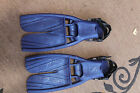 SCUBA PRO BLUE TWIN JET OPEN HEEL SPLIT FINS SIZE LARGE MADE IN USA