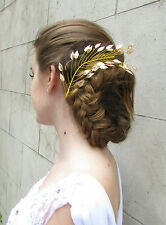 Gold Leaf Hair Vine Headdress Bridal Hair Clip Grecian Headband Vintage Deco 3AD