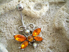 14g Belly Button Navel Ring Flexible Dangle Butterfly Comfortable Orange MB 20