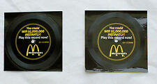 """Vintage 1988 McDonald's set of 2  """"You Could WIN $1,000,000 INSTANTLY"""" records"""
