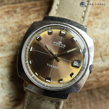 FORTIS TUXEDO AUTOMATIC 1970's CUSHION CASE TROPICAL BROWN DIAL ETA 2452 35MM