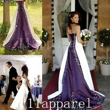 Purple/Ivory Embroidery A-Line Wedding Dresses Bridal  Gown Custom Size Color