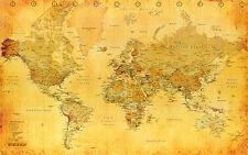 A3 SIZE - OLD LOOKING WORLD MAP VINTAGE GIFT / WALL DECOR ART PRINT POSTER