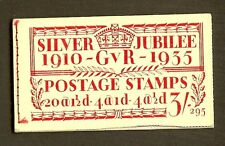 GB - 1935 KGV Silver Jubilee Stamps Booklet 295. Cut Error at Bottom. SG-BB28.