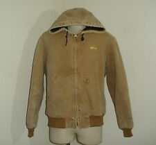 Mens CARHARTT J130 Brown QUILT lined HOODED SANDSTONE DUCK Jacket Large