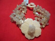 Gray Moonstone Multi-Strand Chip Bead & White Shell Bracelet-7.5 inch-132.00 CTW