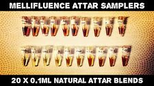 Mellifluence Attar Samplers - Pure Natural Oil Perfume / Attar -20 x 0.1ml Vials