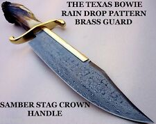 CUSTOM DAMASCUS STEEL HUNTING KNIFE TEXAS BOWIE / DAGGER / SWORD / STAG CROWN