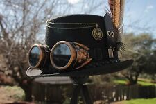 Mens Full Size Top Hat -  Victorian Steampunk, Cosplay. Black with lots of gears