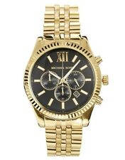 NEW Authentic Michael Kors Lexington Gold-Tone Black Dial Men's Watch MK8286
