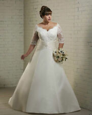 Custom Made Plump Women Plus Size Lace Applique Wedding Dress With Sleeve