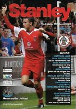 Football Programme ACCRINGTON STANLEY v NEWCASTLE UNITED Aug 2010 Carling Cup
