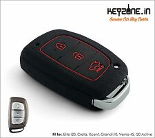 KeyZone Silicone Key Cover fit for Hyundai Creta Smart Key (Black)