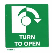 TURN RIGHT TO OPEN SIGN EXIT SIGN RIGID PLASTIC 100x100mm