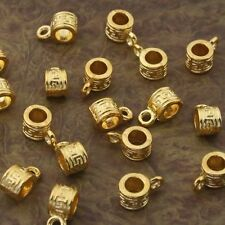 30pcs gold-tone round pattern bail charms beads h2000-G