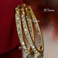 18K YELLOW GOLD GF SWAROVSKI CRYSTAL HOOP STUD EARRINGS OVAL HOOPS