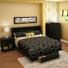 4-Piece Black Full Queen Storage Bed Home Bedroom Furniture Set