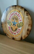 Newcastle Brown  barrel top style  round plaque wooden sign  14inch diameter