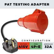 3 PHASE 400V RED 32A PAT TESTING ADAPTER 5 PIN 3 PHASE TEST LEAD FOR PAT TESTER