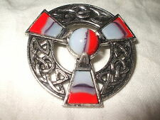 MIRACLE 5 cm Circular 3 & Central Red + Faux Agates Brooch Interlacing 90s? MINT