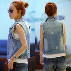 Fashion Women lady Casual Sleeveless Denim Vest Button Down Jean Jacket Coat New