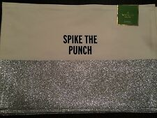 Kate Spade Spike The Punch Silver Sparkle Placemats Sold Out!  Set Of 4 NWT $74