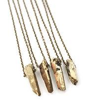 Gold Luxe Cristal Quartz necklace-boho druzy-healing aura Bullet pierre bijoux
