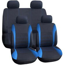 11 pcs Full Seat Cover Set Car Seat Cover Low Front Back Set Black + Blue EdgeFT
