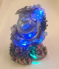 """Dolphin 10"""" Snow Globe MOTION, LIGHTED & MUSICAL Tune OVER THE WAVES 8 Dolphins"""