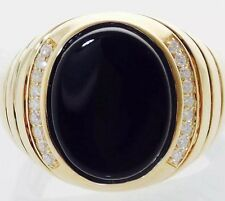 MEN'S 14K GOLD 5.15CT OVAL BLACK ONYX & 0.22CT DIAMOND SOLITAIRE RING 19mm=.75""