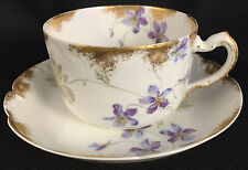 HAVILAND LIMOGES SCHLEIGER 453 453d FLAT CUP & SAUCER VIOLETS DAISIES RANSON Qty